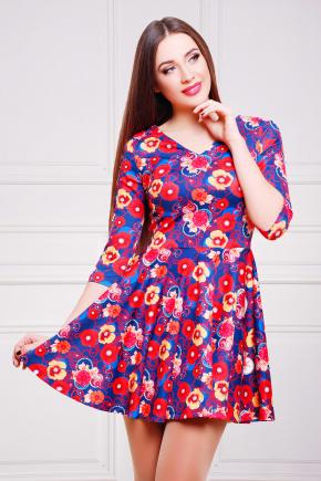 Маки-синий платье Мая д/р. Цвет: принт