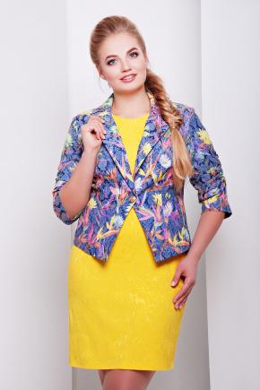 пиджак Жако2. Цвет: синий-экзот.цветы