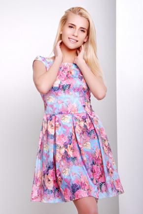 платье Анабель б/р. Цвет: голуб.-розов.цветы