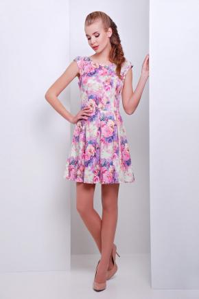 платье Анабель б/р. Цвет: салатов.-розов.цветы