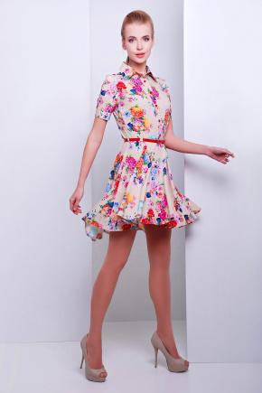 платье Розмари к/р. Цвет: бежевый-букет
