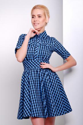 платье Джеки к/р. Цвет: голубой-черная клетка
