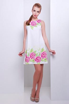 Пионы платье Лада б/р. Цвет: принт-белая отделка