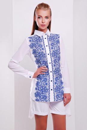 Узор синий блуза Джована д/р. Цвет: принт