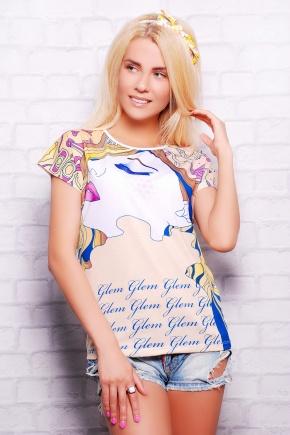 Девушка в цветах футболка Кимоно-Б. Цвет: принт