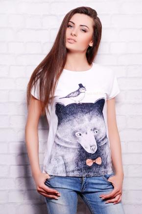 Мишка с птичкой футболка Кимоно-Б. Цвет: принт