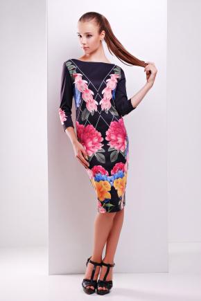 Цветочный сад платье Лоя-1Ф д/р. Цвет: принт