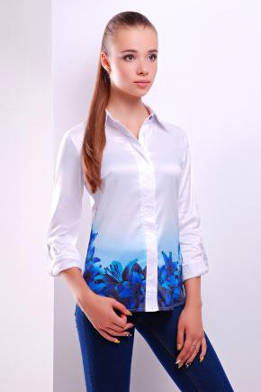 Синие лилии блуза Ларси д/р. Цвет: белый
