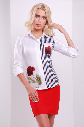 Розы полоска блуза Ларси д/р. Цвет: белый