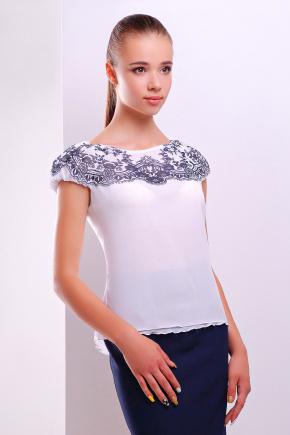 Узор темно синий блуза Жулли2 б/р. Цвет: белый