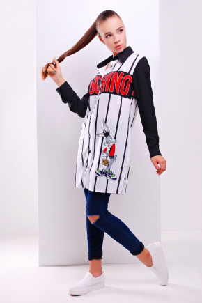Moschino рубашка Марена д/р. Цвет: принт-черная отделка