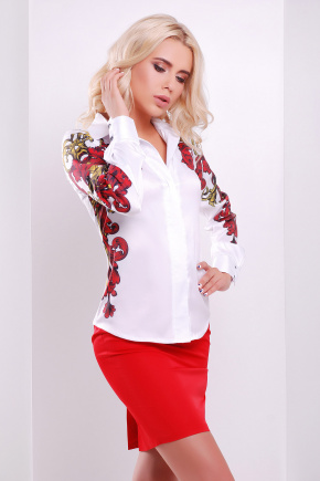 Узор красно-желтый блуза Ларси-3 д/р. Цвет: белый