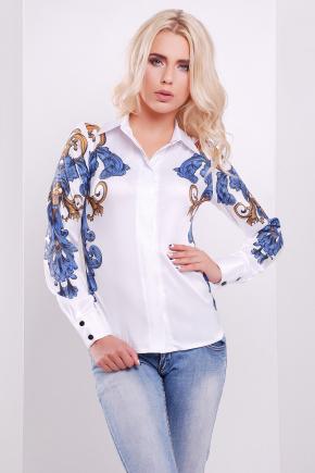 Узор сине-оранжевый блуза Ларси-3 д/р. Цвет: белый