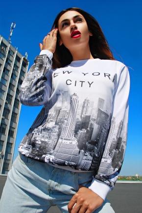 Нью-Йорк Сити кофта Свитшот №1 (весна) д/р. Цвет: принт-белая отделка