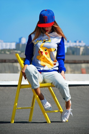 Покемон кофта Свитшот №2 (весна) д/р. Цвет: принт-электрик отделка
