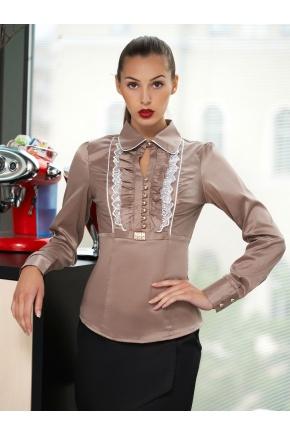 блуза Каролина д/р. Цвет: бежевый-белая отделка