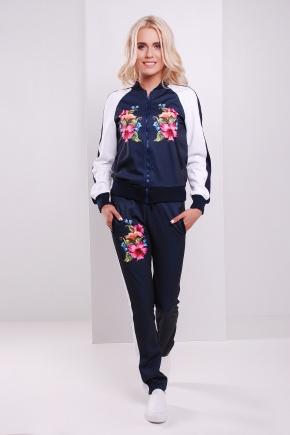 Китайская роза брюки Юниор 3ДН. Цвет: принт-т.синяя отделка