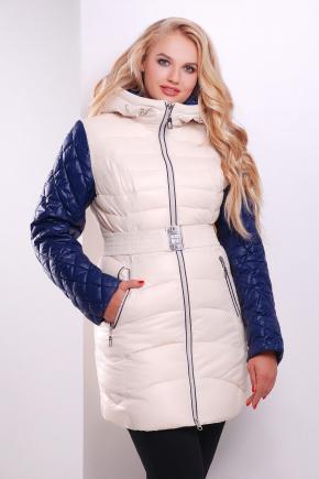 Куртка 513. Цвет: молоко-т.синяя отделка