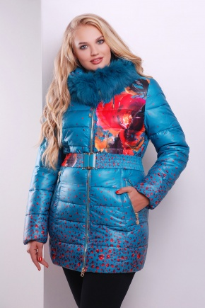 Куртка 90-58. Цвет: бирюза-цветы
