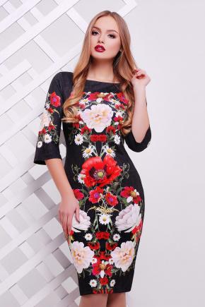 Букет маки платье Лоя-3Ф д/р. Цвет: принт