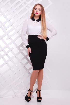 платье Флоренс д/р. Цвет: черный-белая отделка
