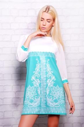 Кружево мята платье Тая-1К (шифон) д/р. Цвет: принт