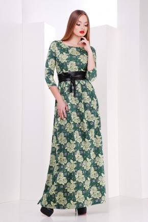 платье Шарли д/р. Цвет: зеленый-лапка-роза