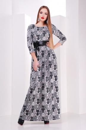 платье Шарли д/р. Цвет: черный-лапка-роза