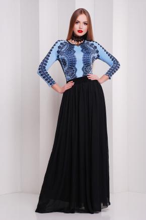 Кружево черное платье Памония д/р. Цвет: голубой