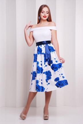 Розы синие платье Эмми б/р. Цвет: принт