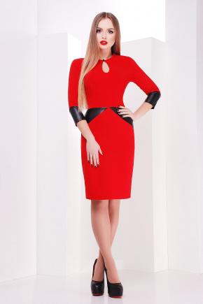 платье Макбет д/р. Цвет: красный-черная отделка