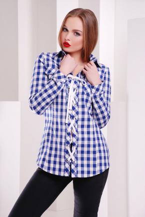 блуза Рондо д/р. Цвет: электрик-белый м. клетка