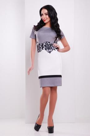 Клетка-кружево платье Лорета к/р. Цвет: белый