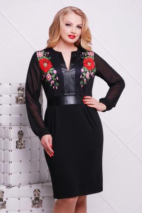 Маки платье Лусена-Б д/р. Цвет: принт-кожа отделка
