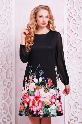 Черный букет платье Тана-3Б КД д/р. Цвет: принт