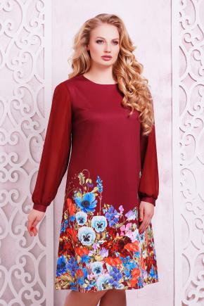 Бордовый букет платье Тана-3Б КД д/р. Цвет: принт