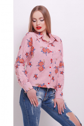 блуза Рипосто д/р. Цвет: красная кр. полоска