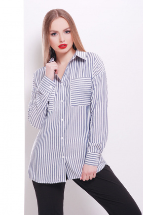 блуза Риканто д/р. Цвет: черная м. полоска