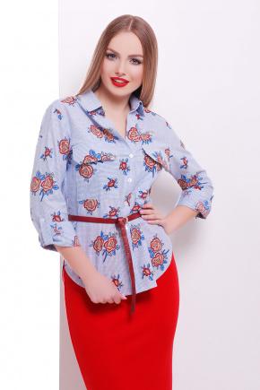 блуза Розара д/р. Цвет: синий-м.полоска-роза