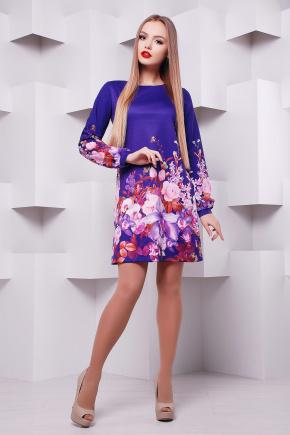 Фиолетовый букет платье Тана-1КД (креп) д/р. Цвет: принт