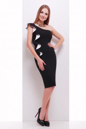 платье Виола б/р. Цвет: черный-белая отделка