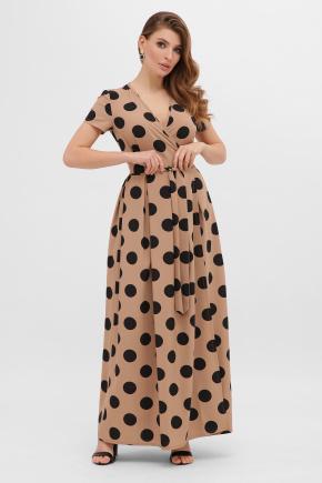 Платье Шайни к/р. Цвет: капучино-черный горох б.