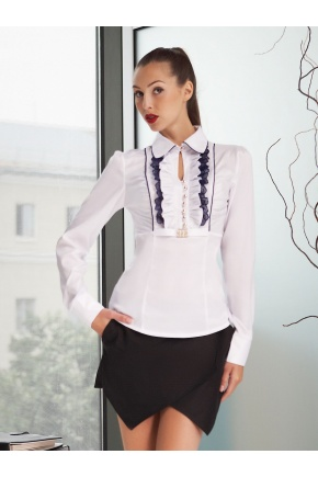 блуза Каролина д/р. Цвет: белый-т.синяя отделка