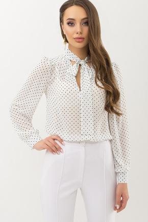 Блуза Аза д/р. Цвет: белый-черный м. горох