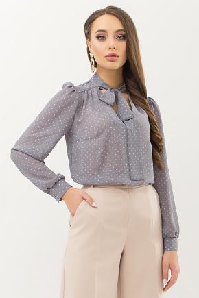 Блуза Аза д/р. Цвет: серый-пудра м.горох