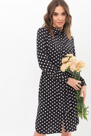 Платье-рубашка Элиза д/р. Цвет: черный-белый горох