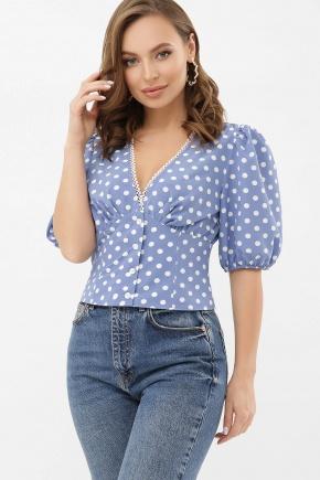 Блуза Инара к/р. Цвет: джинс-белый горох