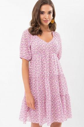 Платье Хестер к/р. Цвет: сиреневый-оранж.м.цветы