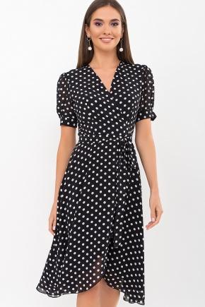 Платье Алеста к/р. Цвет: черный-белый горох