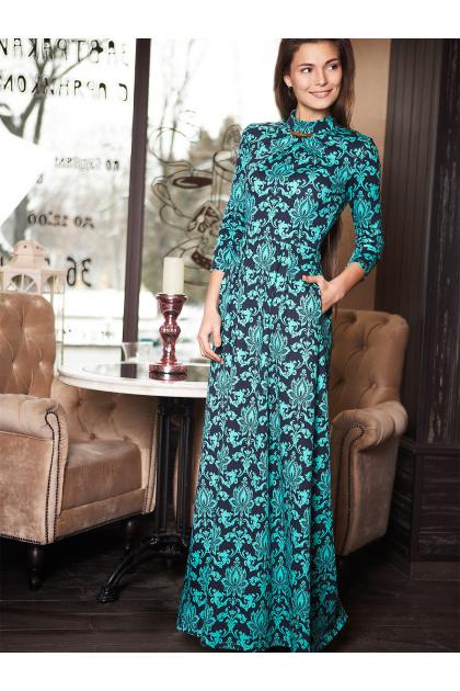 . платье Шарлота д/р. Цвет: мята-узор